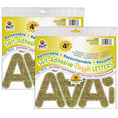 (2 Pk) Letters Gold Dazzle Puffy Font 4in Self Adhesive
