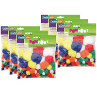 (6 Pk) Pom Pons Bright Hues Assrtd Sizes 100 Pieces