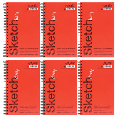 (6 Ea) Sketch Diary Medium Weight 9.5x6 70 Sheets