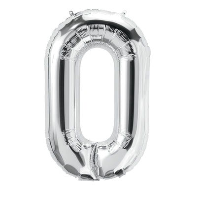 (10 Ea) 16in Foil Balloon Silver Number 0
