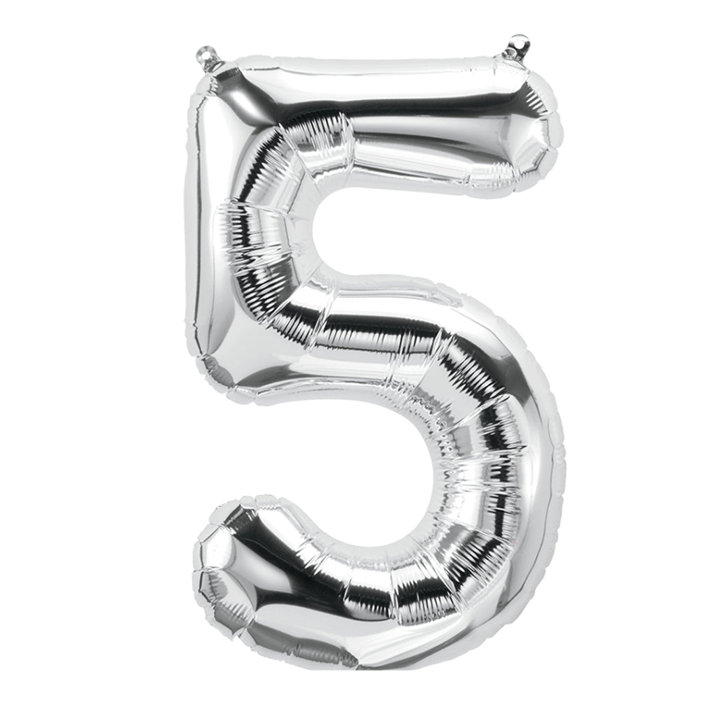 (10 Ea) 16in Foil Balloon Silver Number 5