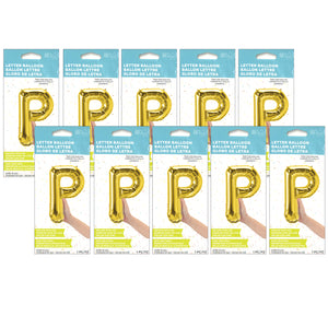 (10 Ea) 16in Foil Balloon Gold Letter P