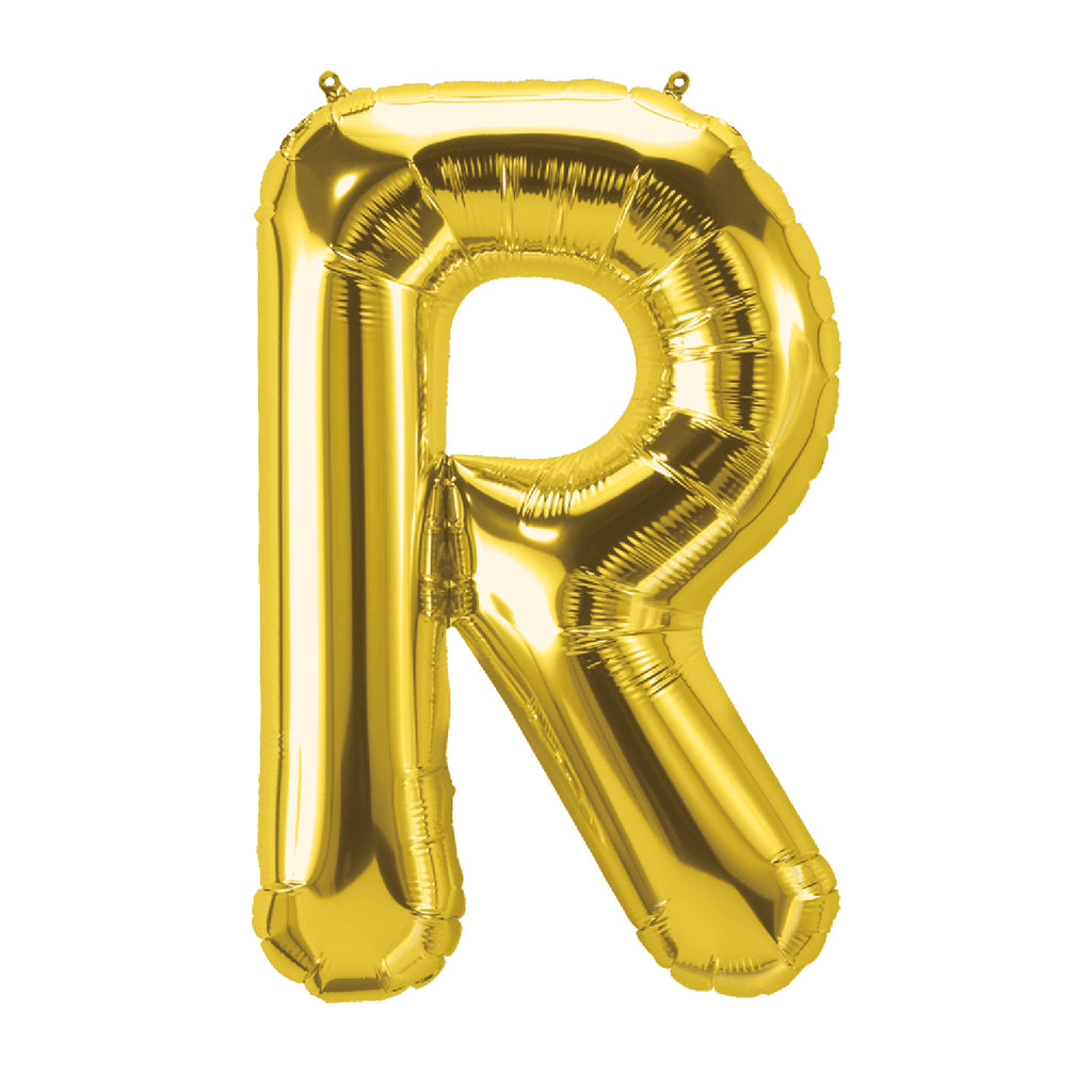 (10 Ea) 16in Foil Balloon Gold Letter R