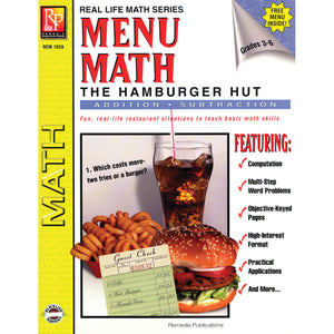 Menu Math Hamburger Hut Book-1 Add & Subtract