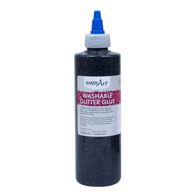 Washable Glitter Glue 8 Oz Black Handy Art