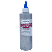 Washable Glitter Glue 8 Oz Silver Handy Art