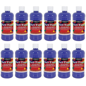 (12 Ea) Blue Art-time Washable Paint 16 Oz