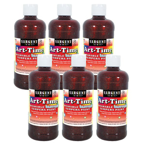 (6 Ea) Glitter Tempera 16 Oz Red Washable Art Time