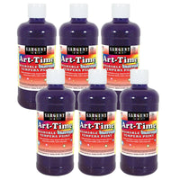 (6 Ea) Glitter Tempera 16 Oz Violet Washable Art Time