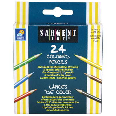 (12 Bx) Sargent Art Half-sized Colored Pencils 24 Per Pk
