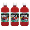 (3 Ea) 16oz Acrylic Paint Red
