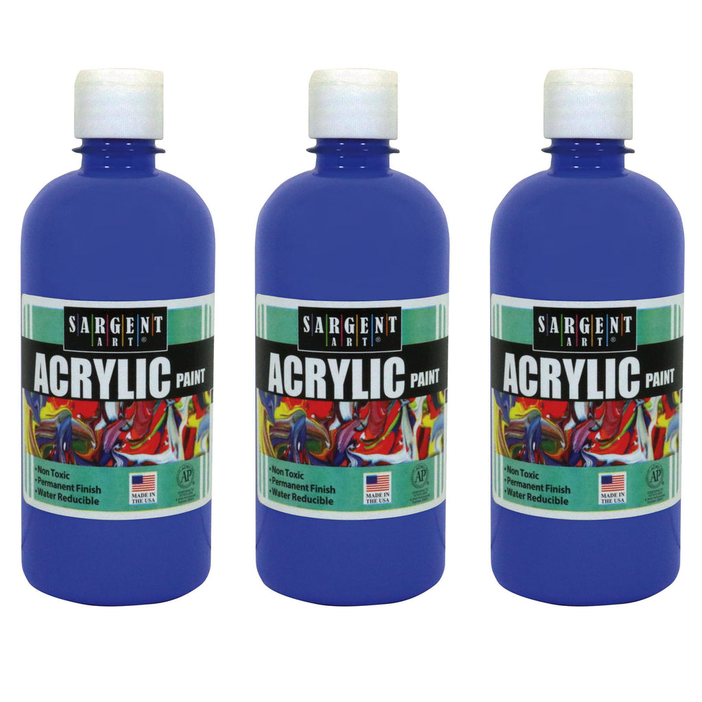 (3 Ea) 16oz Acrylic Paint Blue