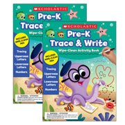 (2 Ea) Pre-k Trace & Write Activty Book Wipe Clean