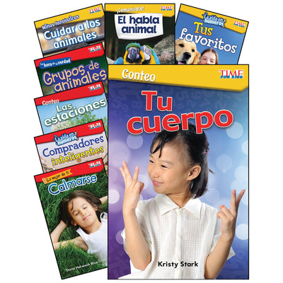 Math-science Spanish Gr K-1 8 Book Set Time For Kids