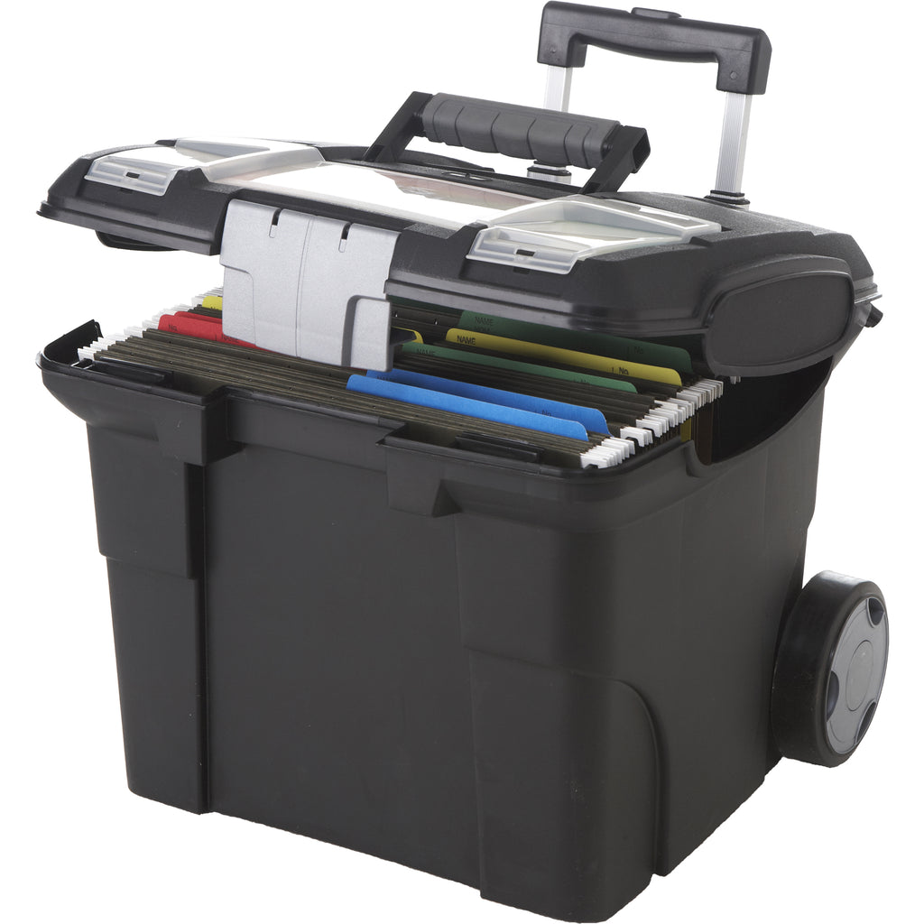 Storex Portable File Box On Wheels