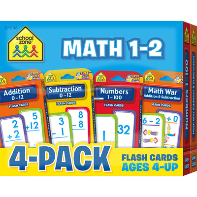 Math 1-2 Flash Cards 4 Pk