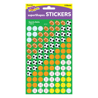 (12 Pk) Supershapes Stickers Sports Ball - Student Spotlight