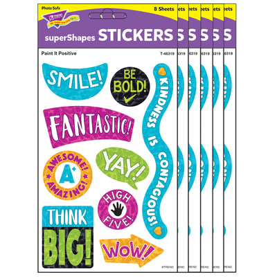 (6 Pk) Paint It Positive Suprshps Stickers Large Color Harmony
