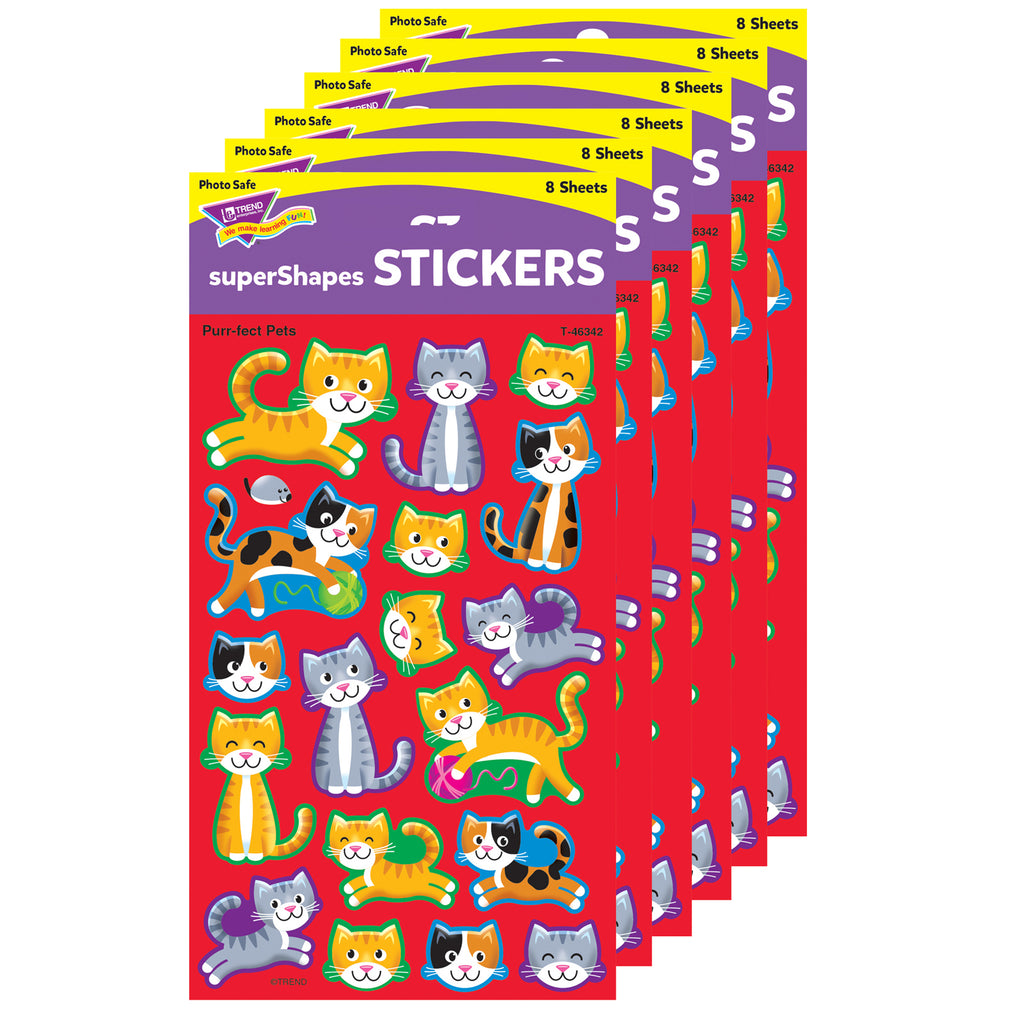 (6 Pk) Purrfect Pet Stickers Lg Supershape
