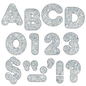 (3 Pk) Ready Letters 2in Casual Silver Sparkle
