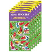 (6 Pk) Gnome Sweet Gnome Sparkle Stickers 18 Ct