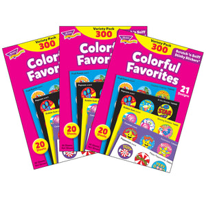 (3 Pk) Stinky Stckers Color Favor Acid-free Variety 300 Per Pk