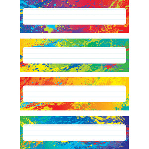 (6 Pk) Splashy Colors Name Plates Variety Of 4 Designs 32 Per Pk