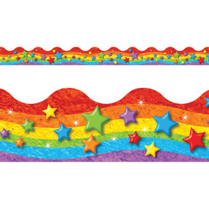 Rainbow & Stars Trimmers Scalloped Edge 12-pk 2.25 X 39 Total