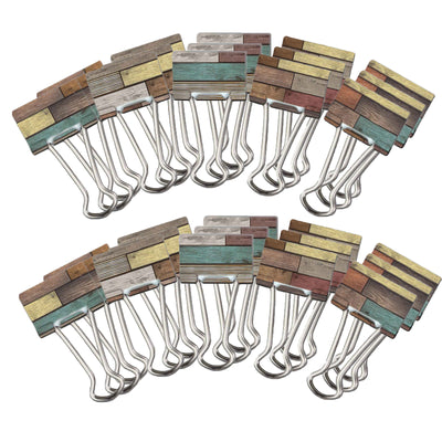 (6 Pk) Reclaimed Wood Medium Binder Clips