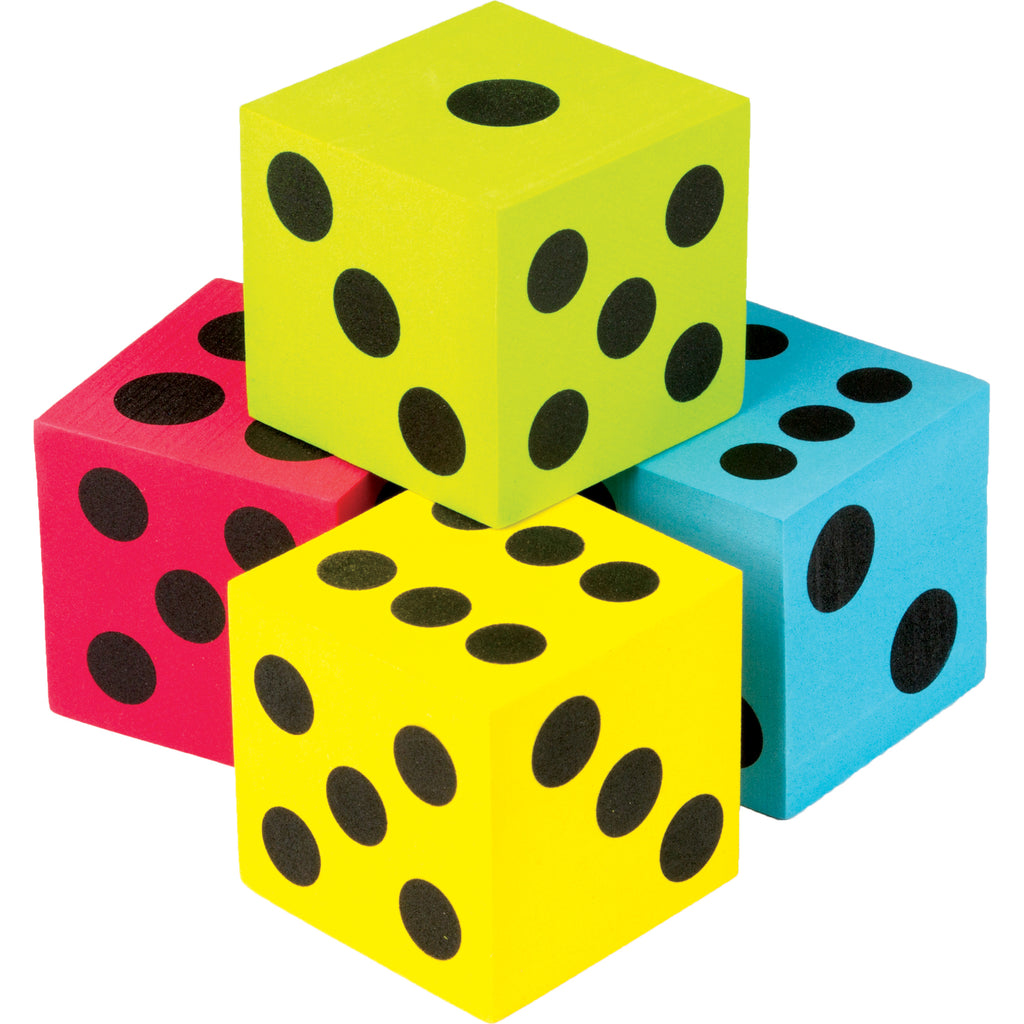 (3 Pk) 4 Pack Foam Colorful Jumbo Dice