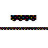 (6 Pk) Black-multicolor Dots Scalloped Border Trim