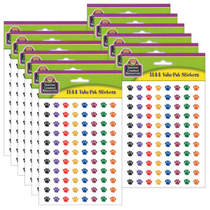 (6 Pk) Colorful Paw Prints Mini Stickers Value Pack