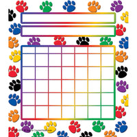 (12 Pk) Colorful Paw Prints Incentive Charts 5.25x6 36 Per Pk