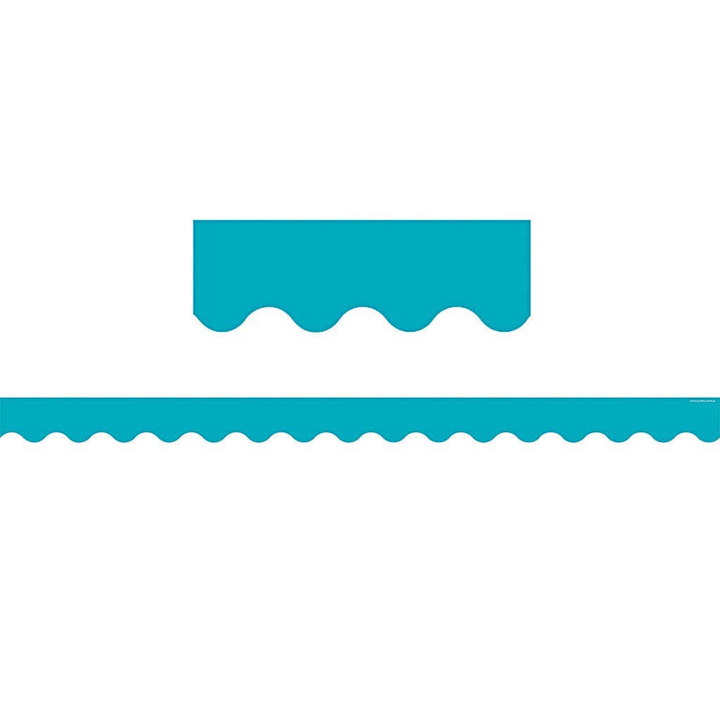 (6 Pk) Teal Solid Scalloped Border Trim