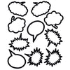 (6 Pk) Superhero Black & White Speech Thought Bubbles Accents