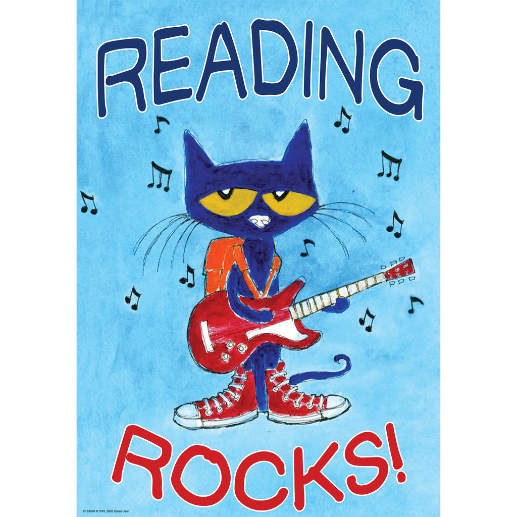 PETE THE CAT READING ROCKS POSTER