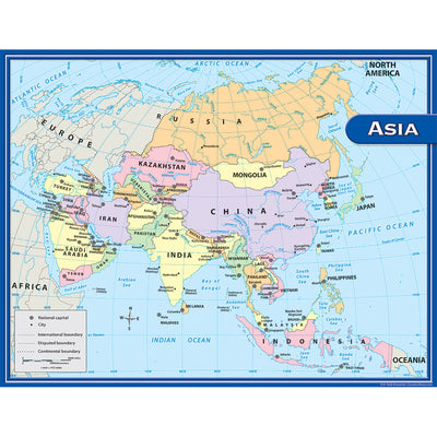 Asia Map Chart 17x22