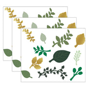(3 Pk) Green And Gold Paper Leaves