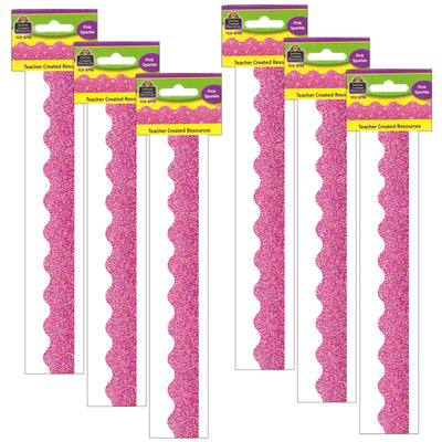 (6 Pk) Pink Sparkle Scalloped Border Trim