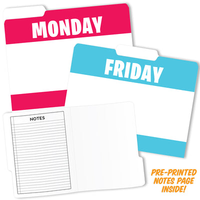 (6 Pk) Day Of The Week Design File Folders