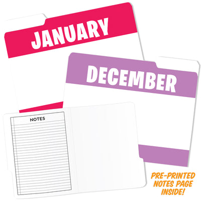 (2 Pk) Month Of Year Design File Folders