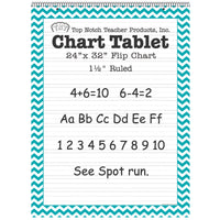 (2 Ea) Teal Chevron Border Chart Tablet 24x32 1-1-2in Ruled
