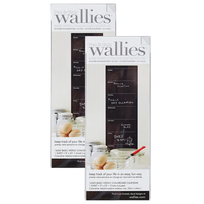 (2 Pk) Weekly Wall Calendar Wallies Chalkboard