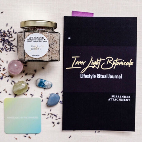 Inner Light Botanicals SURRENDER *Mystery Crystal* Lavender Jasmine Body Scrub and Surrender Attachment Self-Care Kit
