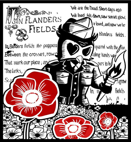 Flanders Field Tribute Mug Fallen Soldier portrayed as Iron Bean Coffee Co mascot Dylan standing in Flanders Field carrying a torch with red poppies