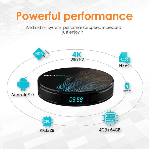 HK1 Max Android TV Box 2GB/16GB 4K - (Android 9.0!) and Wireless Keypad