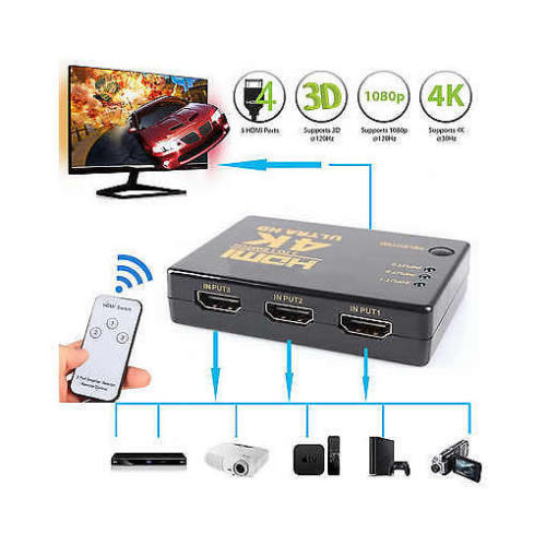 3 Port HDMI Splitter (3 in, 1 out)  HD 4K  For PS4 PS3 Xbox Tv Box