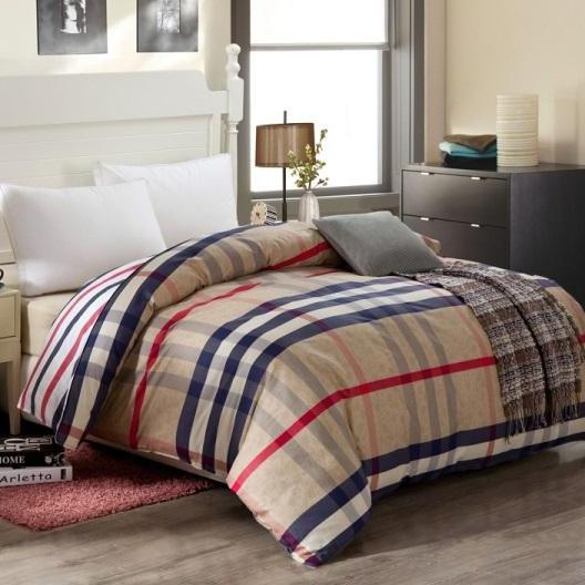 Blue Striped Cartoon Red Plaid Gray Quilt Cover Red Duvet Covers King Size