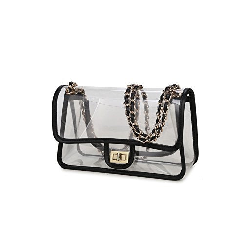 9ce99b53804 Lam Gallery Womens Clear Handbag Purses NFL Stadium Approved Clear Bag for  Football Games Turn Lock Chain Shoulder Crossbody Bags Transparent PVC ...