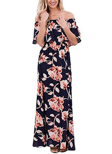 c590b6310b VIGVOG Boho Floral Print Off Shoulder Maxi Dress | Amazon Deals ...
